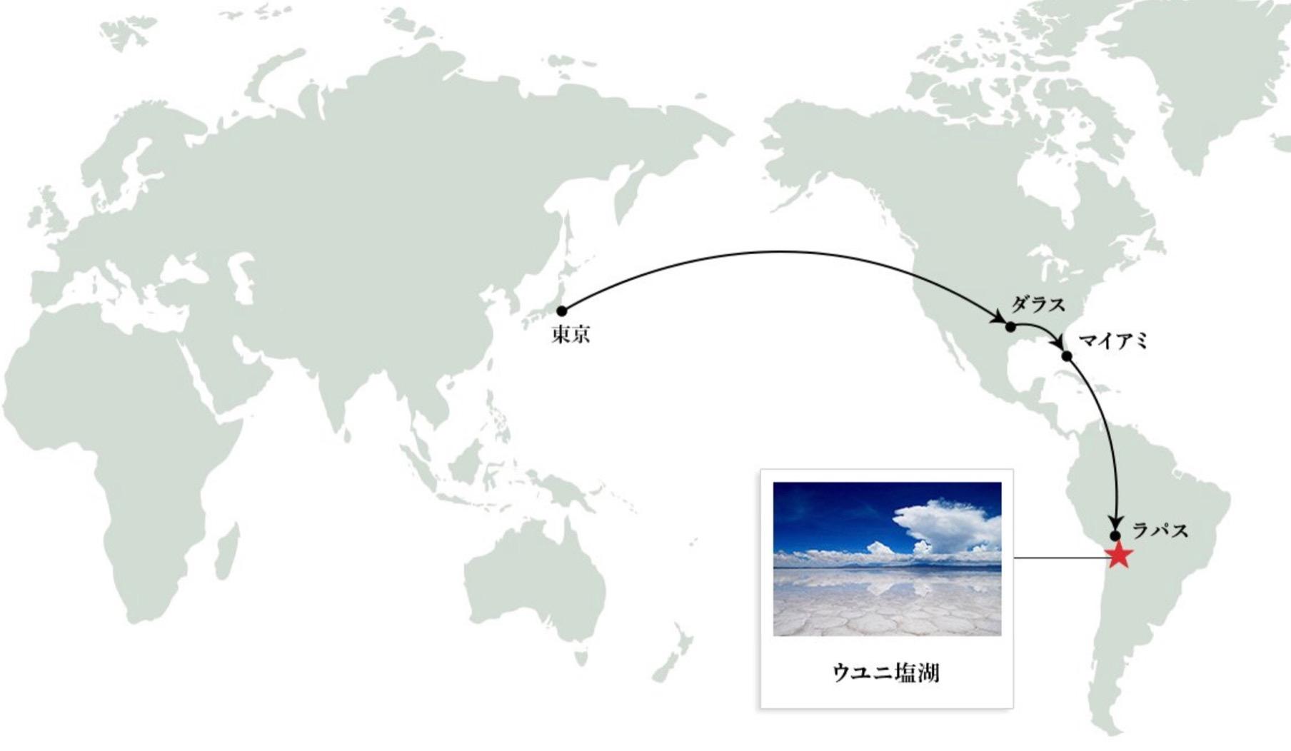 ウユニ塩湖までの航路